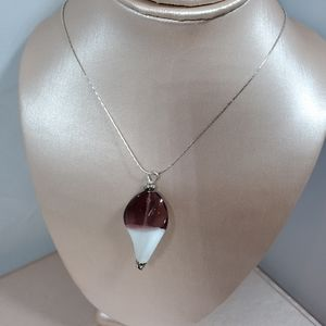 Jewelry - Nwot amethyst & white glass pendant & silver chain
